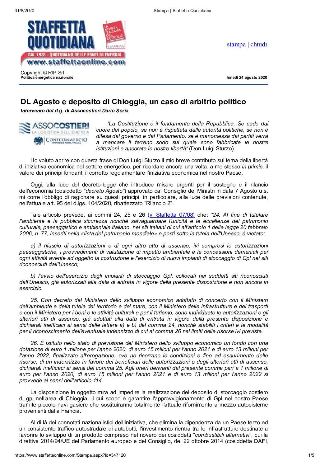 24.04.2020 DL Agosto e deposito di Chioggia, un caso di arbitrio politico