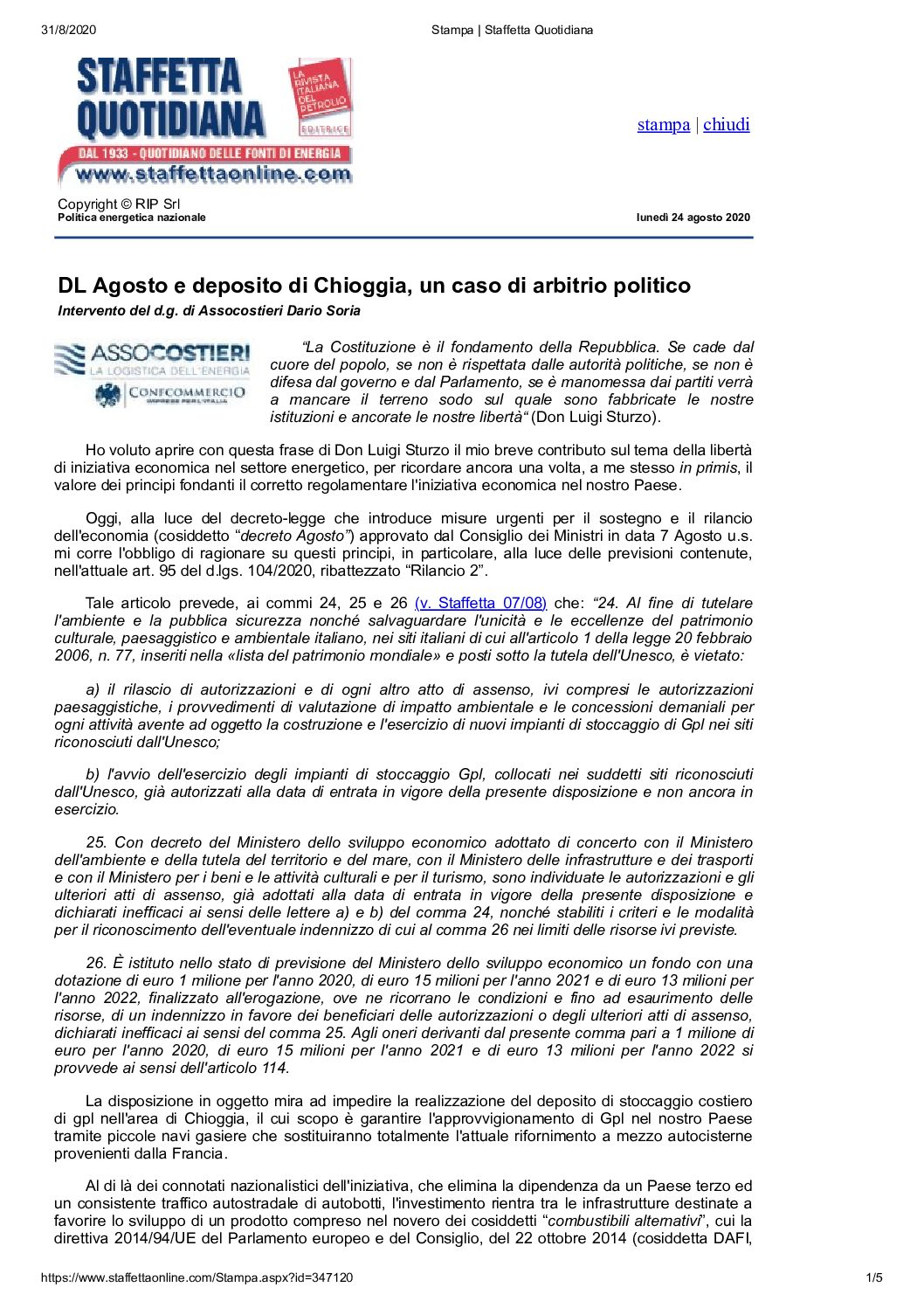 24.08.2020 – DL August and deposit of Chioggia, a case of political arbitration